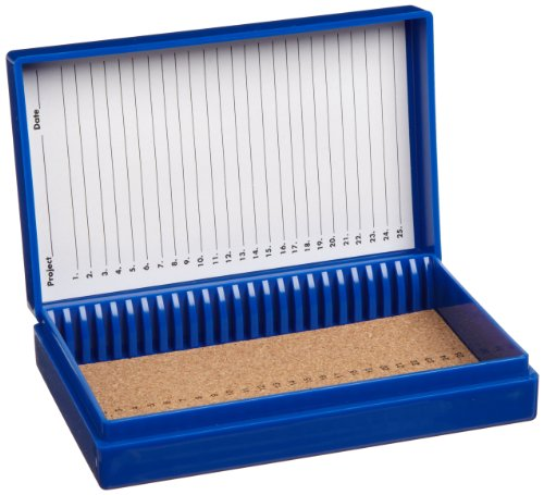 "Heathrow Scientific Hd15989A Blue Cork Lined 25 Place Microscope Slide Box, 5.5"" Length X 3.5"" Width X 1.24"" Height"