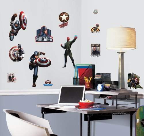 RoomMates RMK1640SCS Captain America Movie Peel & Stick Wall Decals - 1