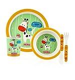 Nuby ID5498YELLOW - Set alimentaci�n con 1 plato, 1 bowl, 1 vaso, 1 tenedor y 1 cuchara, color amarillo