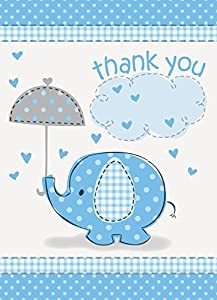 Umbrella Elephant Boy Baby Shower Thank You Notes w/ Envelopes (8ct)