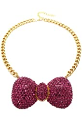 "Fuchsia Rhinestone Bow Ribbon Charm 16"" Gold Tone Necklace HN1059GDFSH"