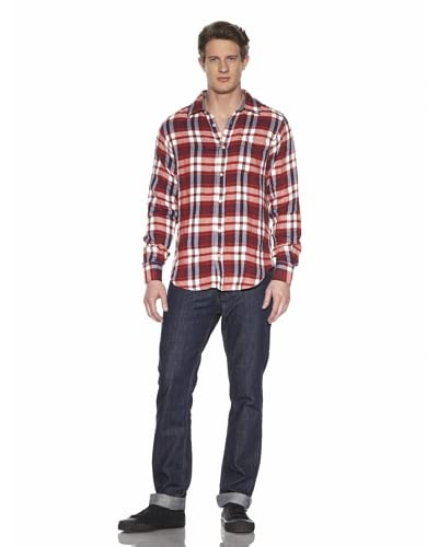 Shirt By Shirt Men's Plaid Button-Front Shirt  [Red/Navy/White]