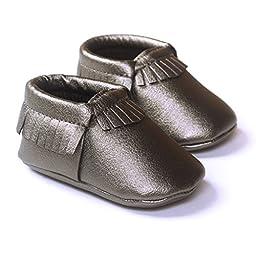 LIVEBOX Infant Baby Moccasins Soft Sole Anti-Slip Tassels Prewalker Toddler Shoes (2: 6~12 months, Grey)