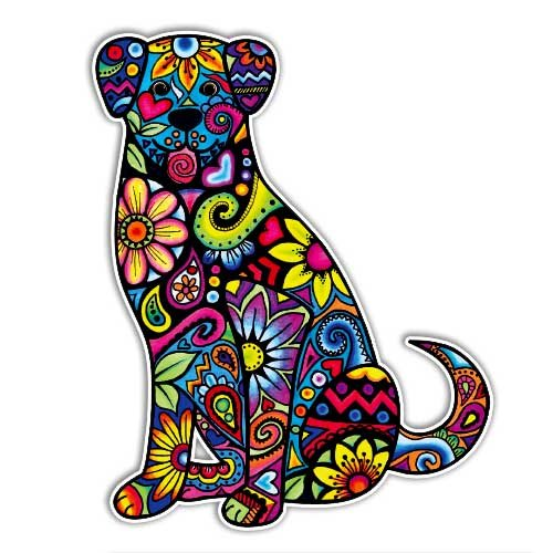 MeganJDesigns Dog Car Sticker - Colorful Flowers Laptop Decal Bumper Sticker Hippie Boho Cute Car Decal Pet Animal Puppy Floral Wall Decal Girly Art Drawing (Colorful Flower Car Decals compare prices)