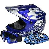 TCMT Dot Youth & Kids Motocross Offroad Street Helmet Blue Skull Motorcycle Helmet Silver Dirt Bike Helmet+Goggles+gloves S