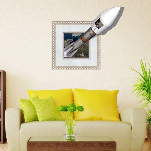 LXPAGTZ Créatrice 3D ( roquettes ) stickers muraux chambre salon TV Canapé fond d'écran HD en trois dimensions autocollants auto-adhésives Autocollants de pigment vert HD