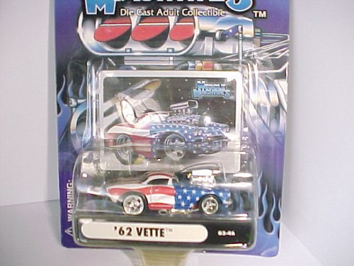 2003 Muscle Machines '62 Vette Corvette # 03-46 Stars and Stripes with Blower - Die Cast Adult Collectible 1:64 Scale - 1