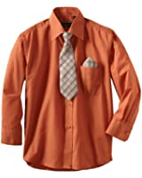 American Exchange Little Boys' Dress Shirt with Tie and Pocket Square