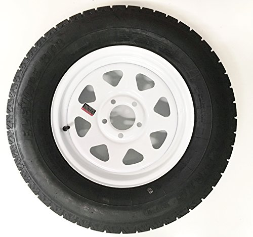 205/75R15 Radial Trailer Tire with 15″ White Spoke Rim (Boat Trailer Wheels 15 Inch compare prices)