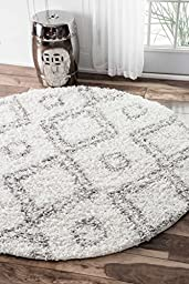 Cozy Soft and Plush Shag Moroccan White Area Rugs, 5 Feet 3 Inches Diameter (5\' 3\