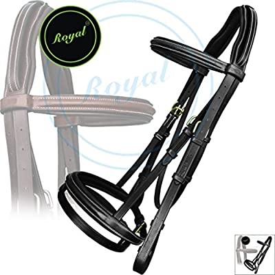 Royal Anti Pressure Cut Head Piece Raised Padded Bridle & PP Rubber Grip Reins./ Vegetable Tanned Leather./ Brass Buckles./ Amazing Pack of 2 bridles.