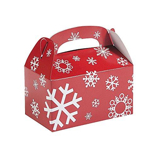 Paper Red And White Snowflake Treat Boxes - (1 Dozen) Christmas Gift Boxes