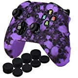 YoRHa Water Transfer Printing Skull Silicone Cover Skin Case for Microsoft Xbox One X & Xbox One S controller x 1(purple) With PRO thumb grips x 8 (Color: skull purple, Tamaño: Printing)