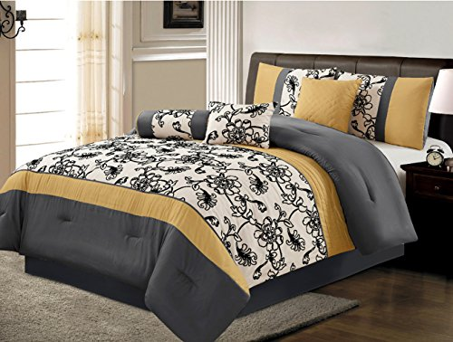 7 Piece Luxury Yellow / Black / White / Grey Floral Comforter set Queen Size Bedding