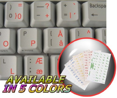 DANISH KEYBOARD STICKERS WITH RED LETTERING TRANSPARENT BACKGROUND FOR DESKTOP, LAPTOP AND NOTEBOOK