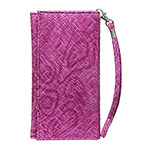 Jo Jo A5 Bali Leather Wallet Universal Pouch Cover Case For Lava Iris 410 Exotic Pink