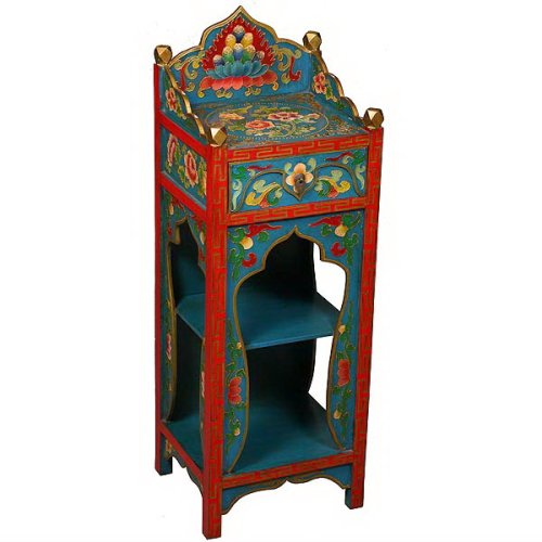 Cheap EXP Handmade Asian Furniture – 38″ Teal & Red Tibetan Buddhist Shrine Hall / End Table (B001JI7E9M)
