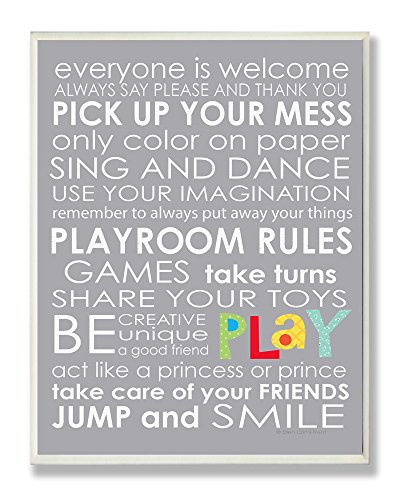 The Kids Room by Stupell Everyone Is Welcome Playroom Rules on Grey Rectangle Wall Plaque