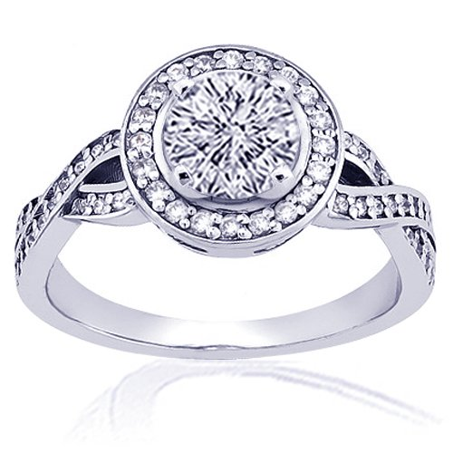 1.30 Ct Round Halo Diamond Engagement Ring Pave 