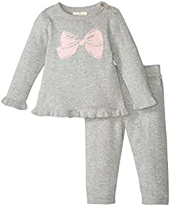 kate spade york Baby Girls Sweater Knit Two-Piece Set, Heather Grey