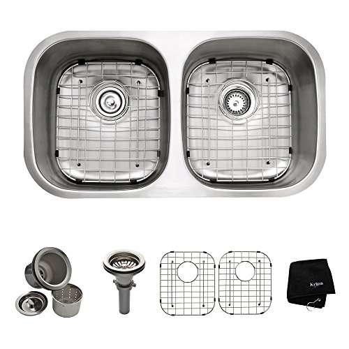 Kraus 32 inch Undermount 50/50 Double Bowl 16 gauge Stainless Steel Kitchen Sink