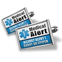"Neonblond Cufflinks Medical Alert Blue ""Allergy Alert 1 Carry an Epipen"" - cuff links for man from NEONBLOND Jewelry & Accessories"