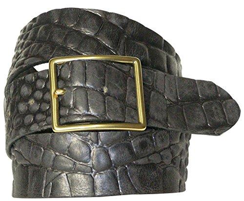 FRONHOFER Crocodile leather belt with a rectangular brass buckle, interchangeable, Size:waist size 31.5 IN M EU 80 cm;Color:Black