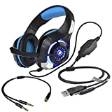 Stereo Gaming Headset for PS4 Xbox One, Beexcellent 3.5mm Bass Over Ear PC Gaming Headphones with Mic/Surround Sound/Noise Isolation/Volume Control/LED Light for Laptop/Mac/iPad/Smartphone/Computer (Color: Blue)
