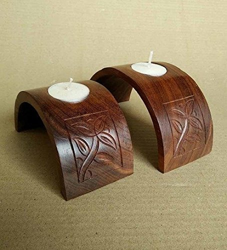 Chilifry Decorative Wooden Tea Light Candle Set Of 2 For Home Decor & Dining Table Decor,Gift Items