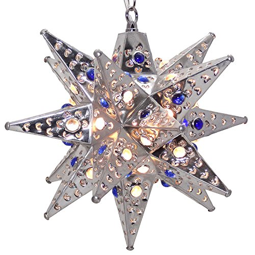 Moravian Star Light, Flower Pierced Tin, Silver with Marbles, 12