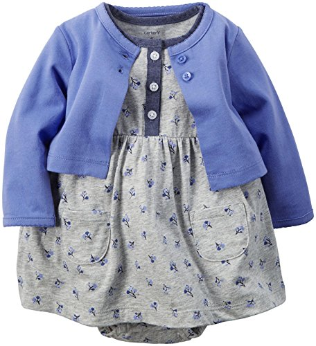 Carter's 2 Piece Dress Set, Blue/Floral, 12 Months