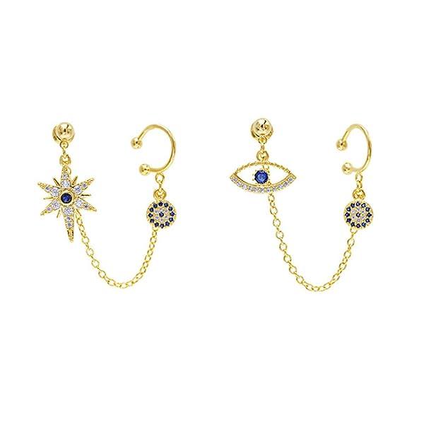 Ear Cuff Cartilage for Women Teen Girls Gold Silver Plated Cubic Zirconia Cuff Earrings Stud