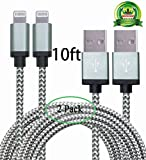 E-COMMERCE 2pcs 10ft Lightning Cable Nylon Braided Charging Cable Extra Long USB Cord for iphone 6s,6s plus,6plus,6,5s 5c 5,iPad Mini, Air,iPad5,iPod 7on iOS9.(Grey and Silver)