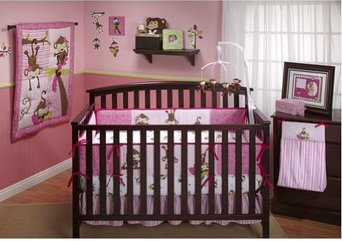 Little Bedding 3 Little Monkeys Crib Bumper, Girl