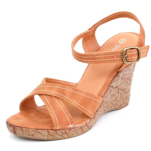 Luo Luo Womens Wedge Heel Sandals Camel Faux Leather Platform Shoes 6.5 M Us front-1003438
