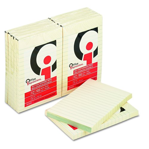 Office Impressions Yellow Self-Stick Notes, 4 X 6 Inches, 100-Sheet Pad (12 Pads Per Pack) (82329)
