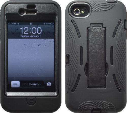 51ARhBklJNL ^ BLACK SHOCK PROOF ARMORED DEFENDER CASE/COVER WITH STAND FOR IPHONE 4 4S 4G 4GS Deals