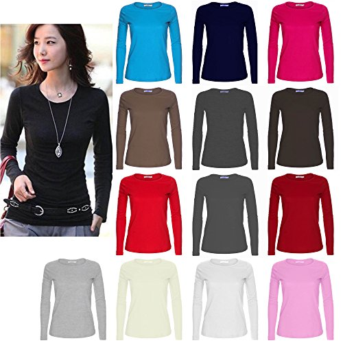 ladies-womens-plain-manga-larga-cuello-redondo-top-uk-tamanos-8-18-negro-rosa-pastel-s-m-para-encaja