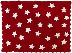 Aratextil. Alfombra Infantil 100% Algodón lavable en lavadora Colección Eden Rojo 120x160 cms por Aratextil Hogar 26 S.L.