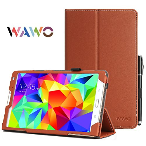 Wawo Creative Smart Cover Folio Case For Samsung Galaxy Tab S 8.4 Inch Tablet-Brown front-64024