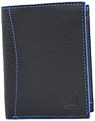 Le Craf Harry Black Genuine Leather Wallet Purse for Mens and Boys-Id window-Credit Debit Card Holder-coin pocket-comes in an Elegant gift box