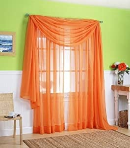 1 x orange elegance sheer scarf valance 216. Black Bedroom Furniture Sets. Home Design Ideas