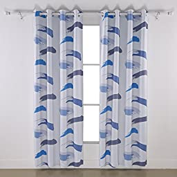 Deconovo Artistic Abstract Stylish Printed Thermal Insulated Top Grommet Blackout Curtains for Children Room 52W x 84L Inch Blue and Dark Gray 1 Pair