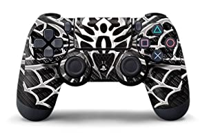 PS4 Controller Designer Skin for Sony PlayStation 4 DualShock Wireless Controller - Widow Maker Chrome & Black