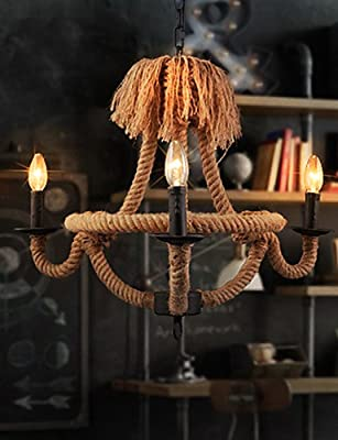 qiuxi High-end fashion Interior Ceiling lamp Retro Chandeliers Lamps Indoor Lighting Palatial Hemp Rope Candle Sitting Room Coffee Bars Parlour Light Fixture , 110-120v-black
