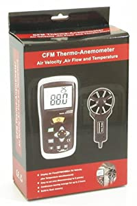 Ruby Electronics DT-619 Digital CFM CMM Thermometer Anemometer Vane Wind Velocity Air Flow Meter
