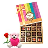 Luxurious Pralines Collection Of Chocolates With Teddy And Rose - Chocholik Belgium Chocolates