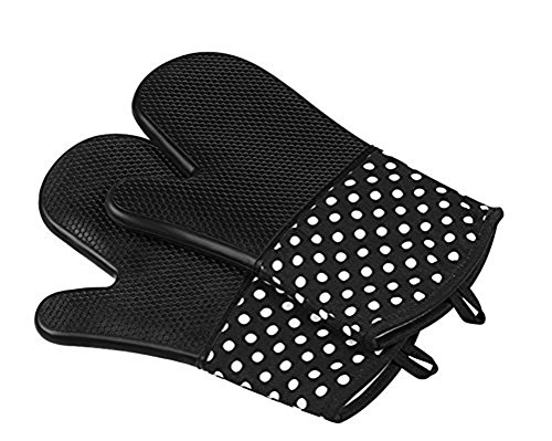 Prettygood Thicker Heat Resistant Quilted Oven Mitts Barbecue Gloves Set Black (Small Size Oven Mitt compare prices)
