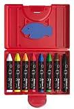 Office Product - Pelikan 722942 - Wachsmalstifte wasserfest Kunststoff-Etui mit 8 dicken dreieckigen Stiften und Schaber