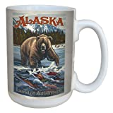 Tree-Free Greetings lm43108 Vintage Alaska Grizzly Bear with Salmon by Paul A. Lanquist Ceramic Mug with Full-Sized Handle, 15-Ounce, Multicolored